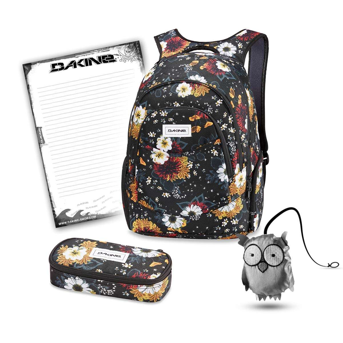 42b59097d7419 Dakine Prom 25L + School Case + Emma + Block School Set Winter Daisy ...